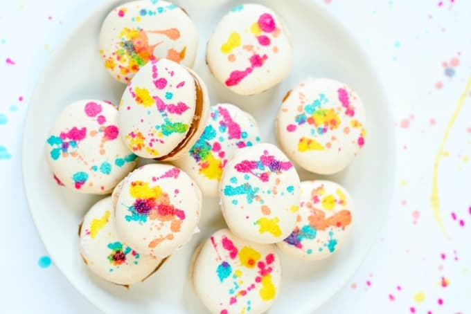 splatter painted french macarons recipe
