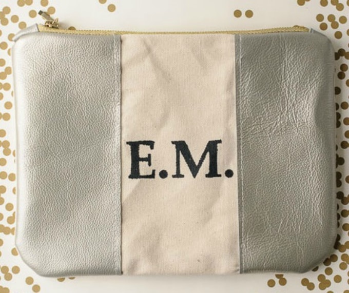DIY monogrammed leather zip pouch