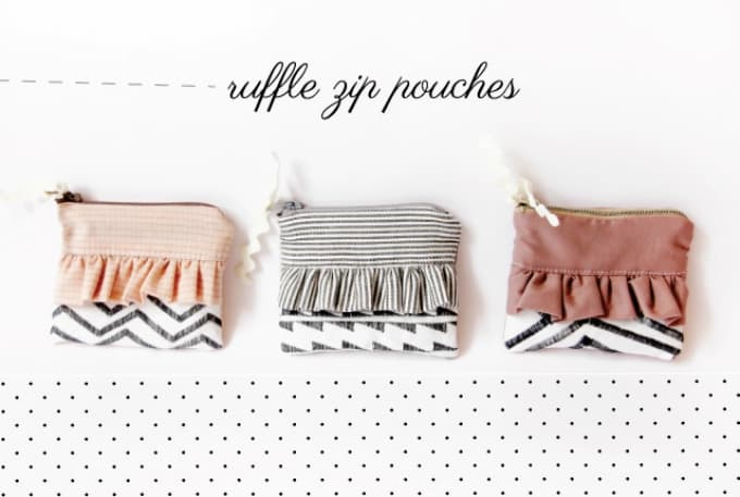 ruffle zip pouches
