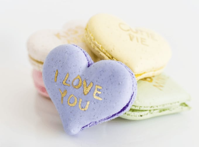 conversation heart macarons