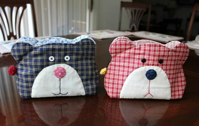teddy bar quilt bag
