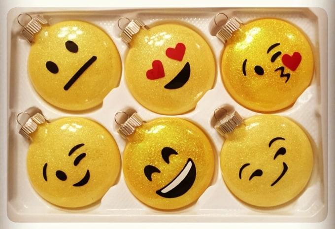 glittery emoji ornaments
