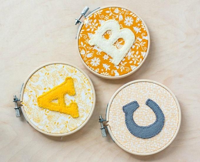 diy alphabet hoop art