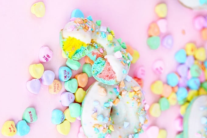 DIY conversation heart donuts