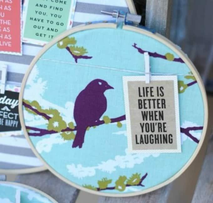 embroidery hoop quote hanger