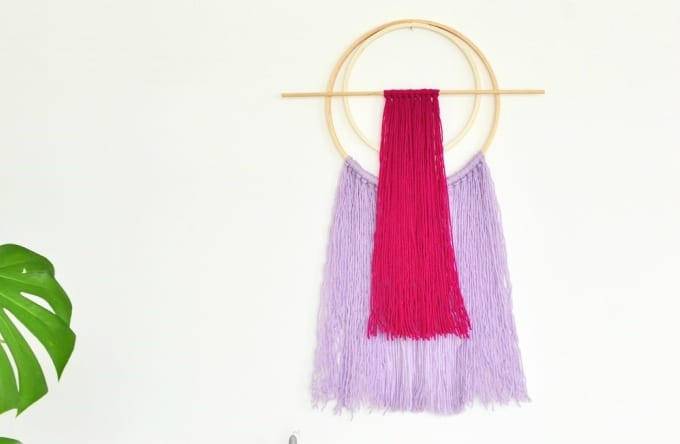 diy embroidery hoop yarn wall hanging