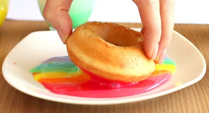 tie-dye inspired rainbow donuts