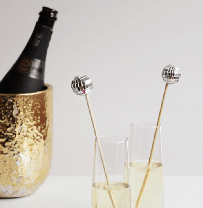 sparkly disco ball drink stirrers