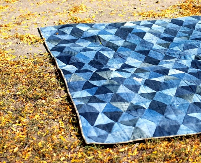 denim triangle quilt