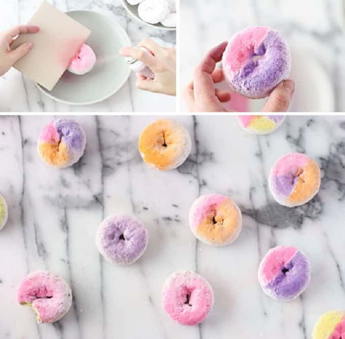 powdered ombre donuts