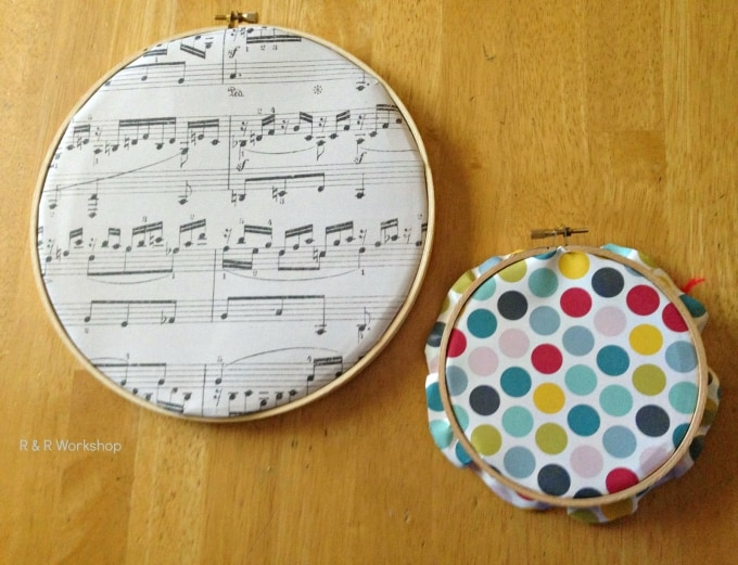 embroidery hoop art with scrapbook paper