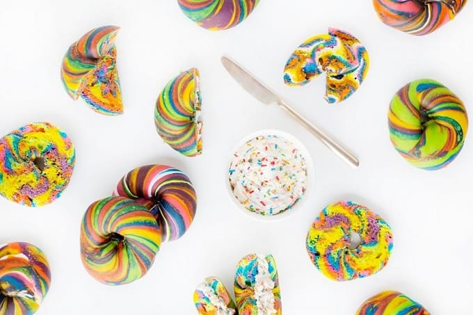funfetti cream cheese + rainbow bagel donuts