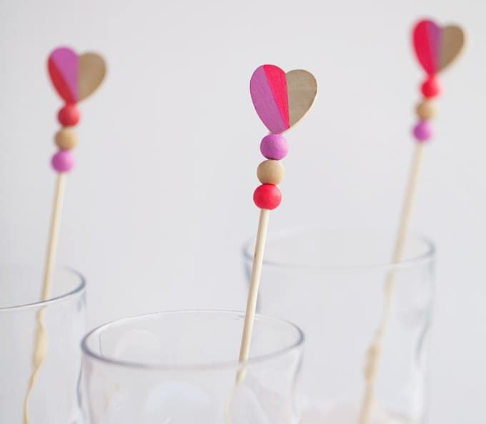 wooden heart drink stirrers