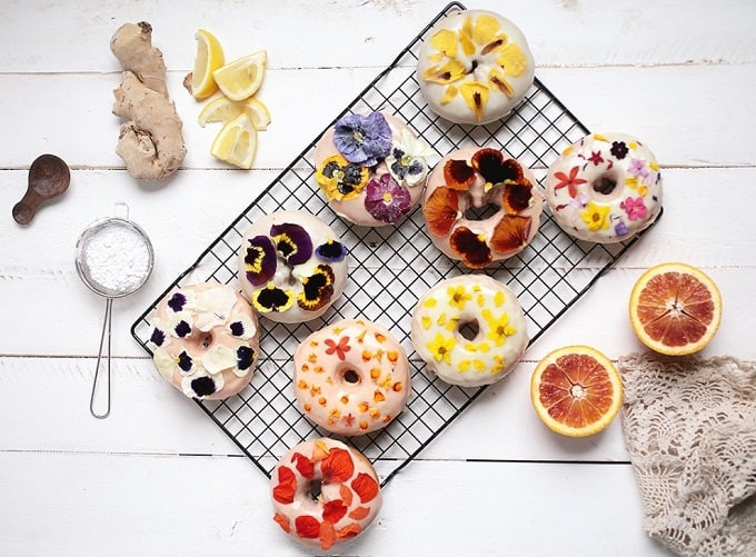 edible pressed flower donuts