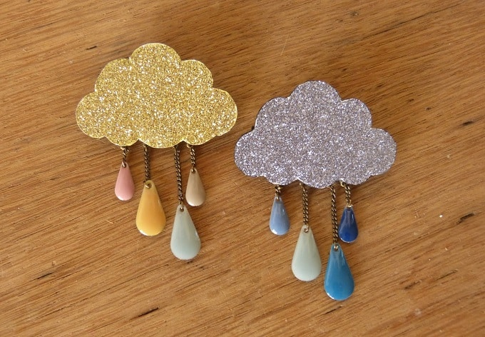 rain cloud brooches