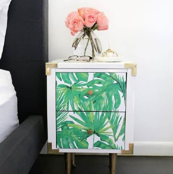 Nightstand Table Makeover - We compiled an eye-catching list of 30 DIY tropical leaf craft ideas for you try. | Coolcrafts.com