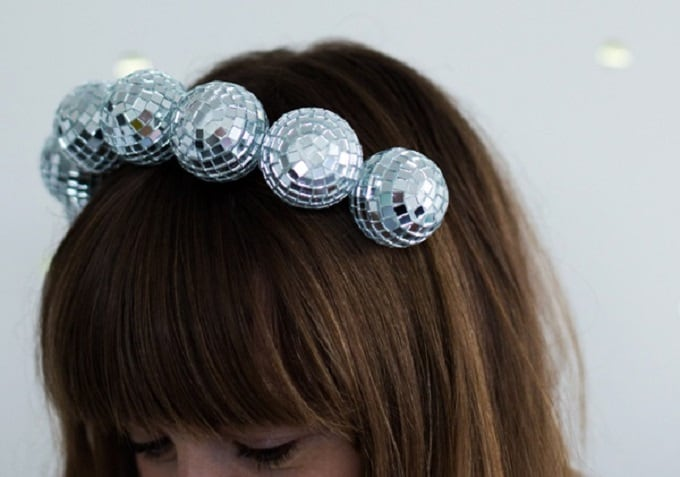 Disco Ball Headband - Check out our list of 39 other DIY crown and tiaras that you can create for your next party | Coolcrafts.com