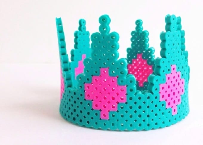 Perler Bead Crown - Check out our list of 39 other DIY crown and tiaras that you can create for your next party | Coolcrafts.com
