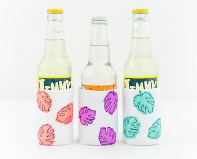 Monstera Leaf Drink Sleeves - We compiled an eye-catching list of 30 DIY tropical leaf craft ideas for you try. | Coolcrafts.com