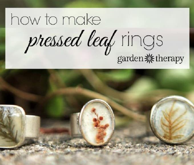 Pressed Leaf Rings - We compiled a list of 39 other DIY pressed flower ideas for you to make | Coolcrafts.com