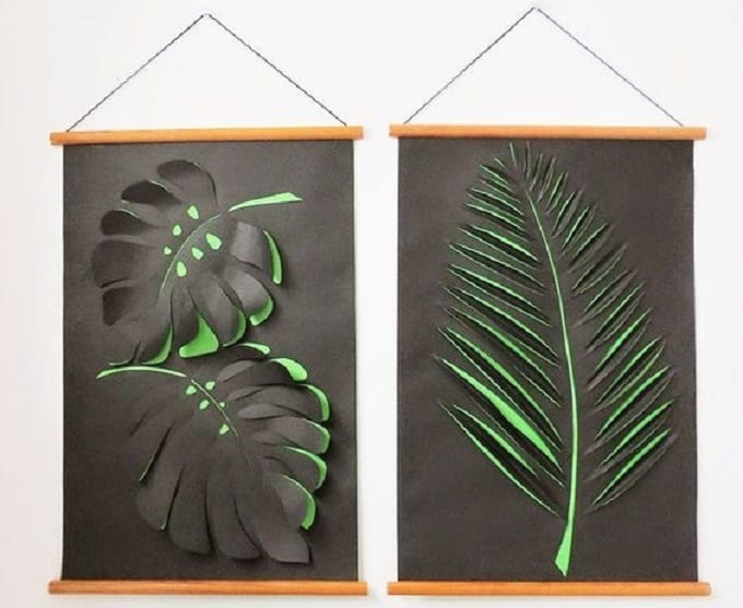 Tropical Leaf Inspired Wall Art - We compiled an eye-catching list of 30 DIY tropical leaf craft ideas for you try. | Coolcrafts.com