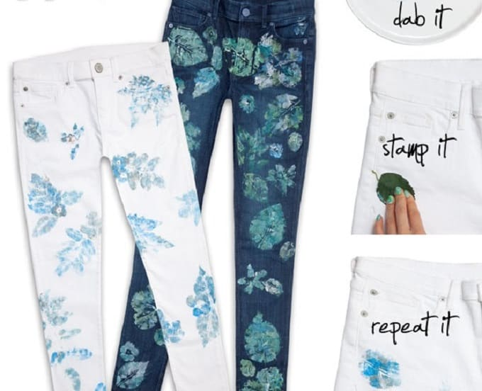 Leaf Print Jeans - We compiled an eye-catching list of 30 DIY tropical leaf craft ideas for you try. | Coolcrafts.com