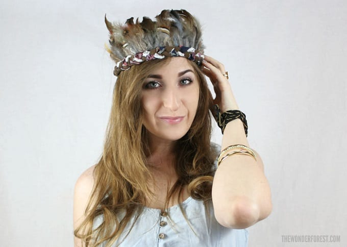 Rock Feather Crown - Check out our list of 39 other DIY crown and tiaras that you can create for your next party | Coolcrafts.com