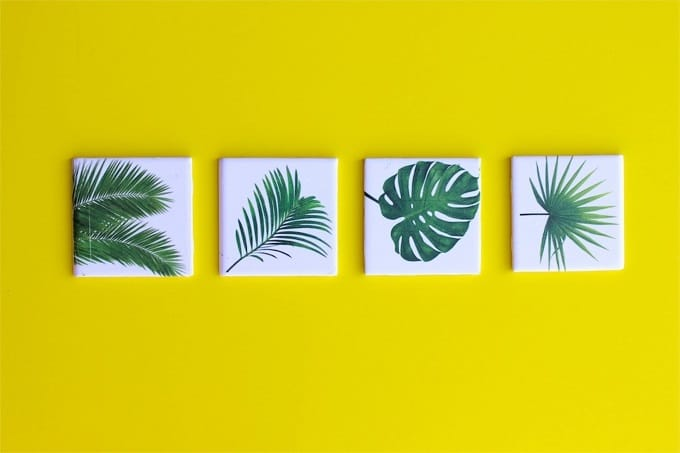 Leaf Coasters - We compiled an eye-catching list of 30 DIY tropical leaf craft ideas for you try. | Coolcrafts.com