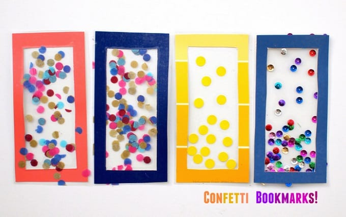 DIY confetti bookmarks