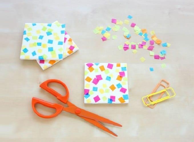 DIY confetti coasters