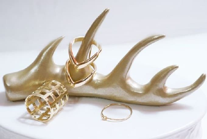 Gold Antler Ring Holder