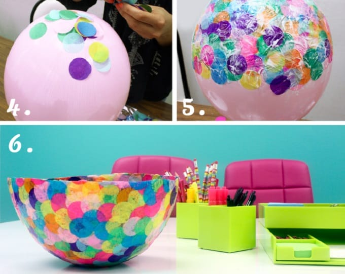 paper mâché bowl using confetti