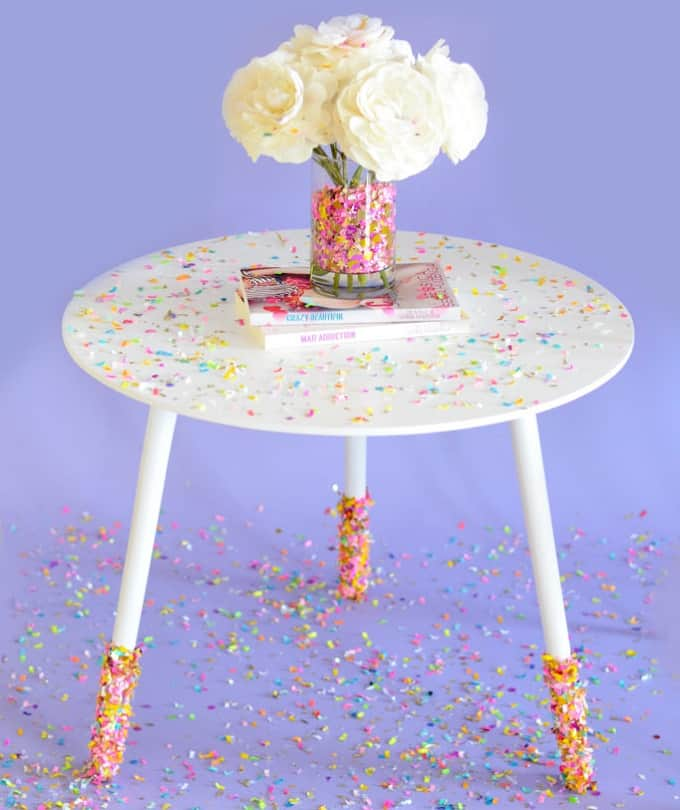 DIY confetti-dipped table