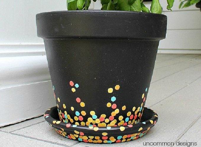 confetti-clad plant pot