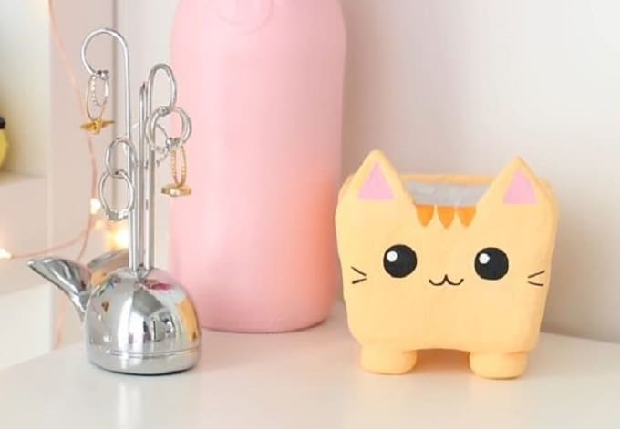 kawaii cat planter