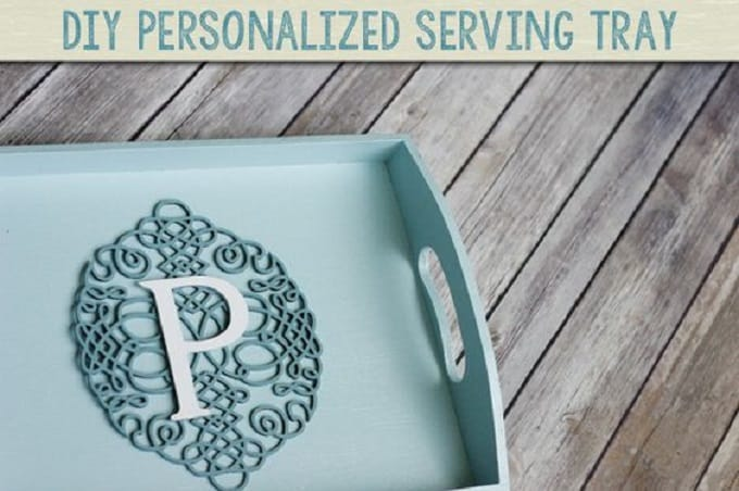 monogram serving tray