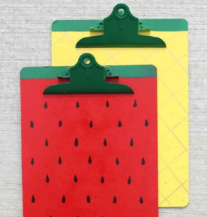 DIY fruit clipboards