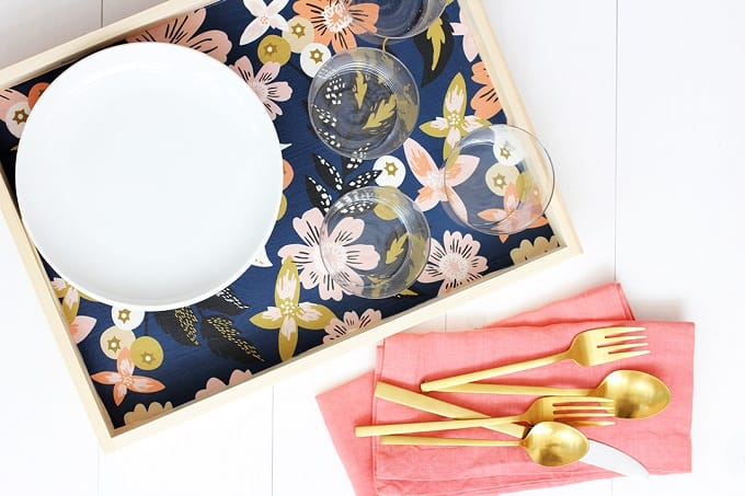DIY Fabric Lined Wood Tray