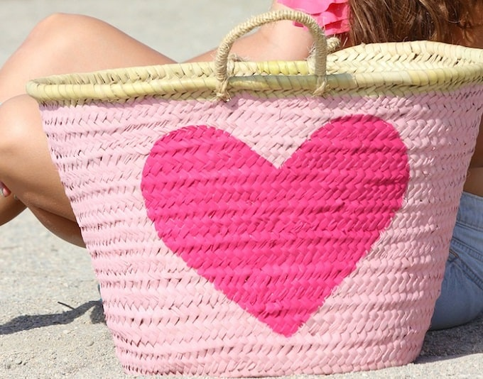 Heart Design Straw Basket