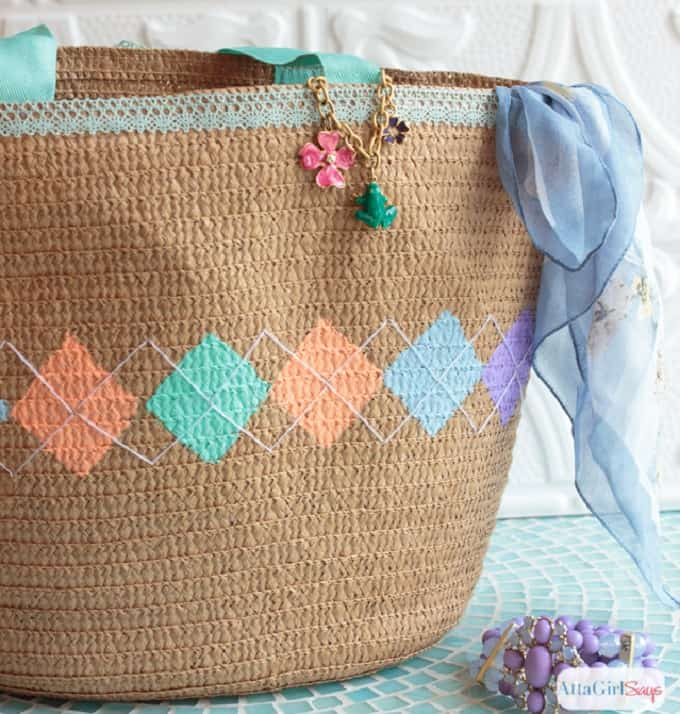 Argyle Pattern Tote Bag