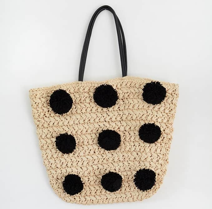 Pom Pom Clad Straw Beach Bag