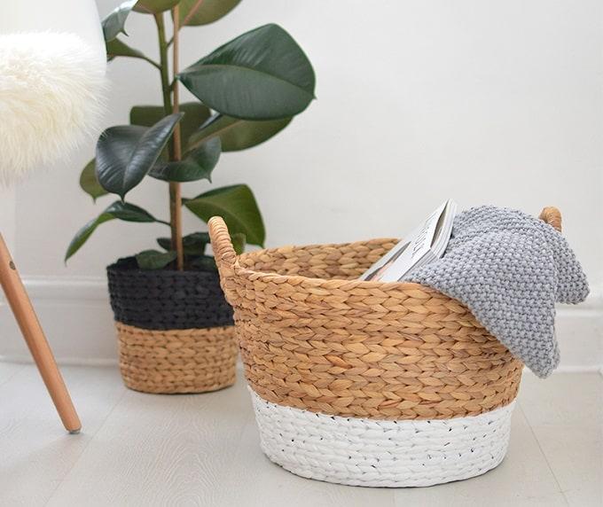 DIY Painted Wicker Basket
