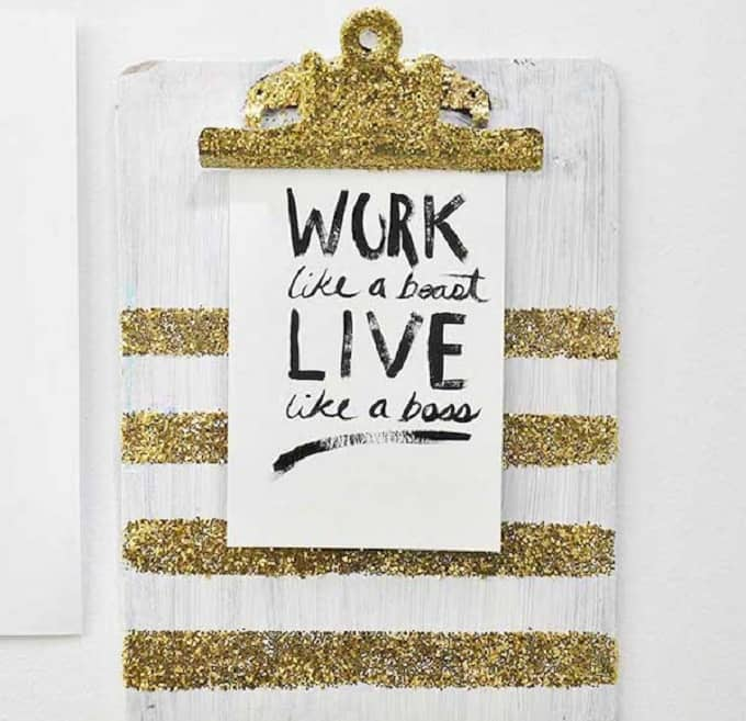clipboard bombed with glitter