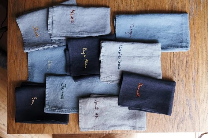 personalized embroidered napkins