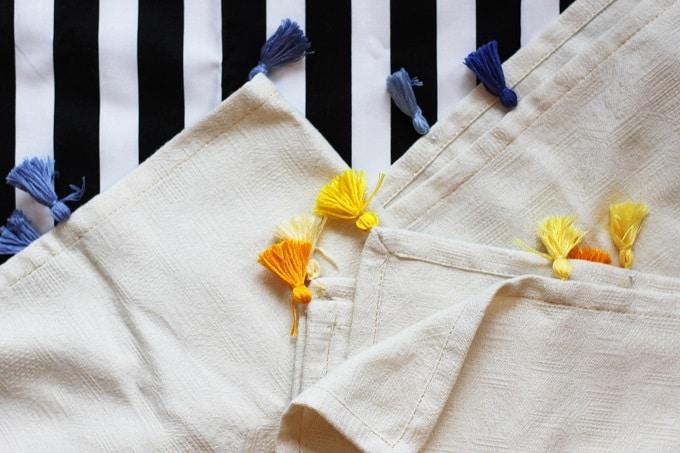 DIY tassel napkins