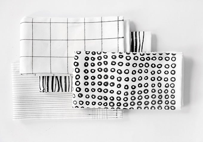 black and white printed napkins