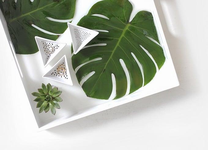 tropical leaf serving tray