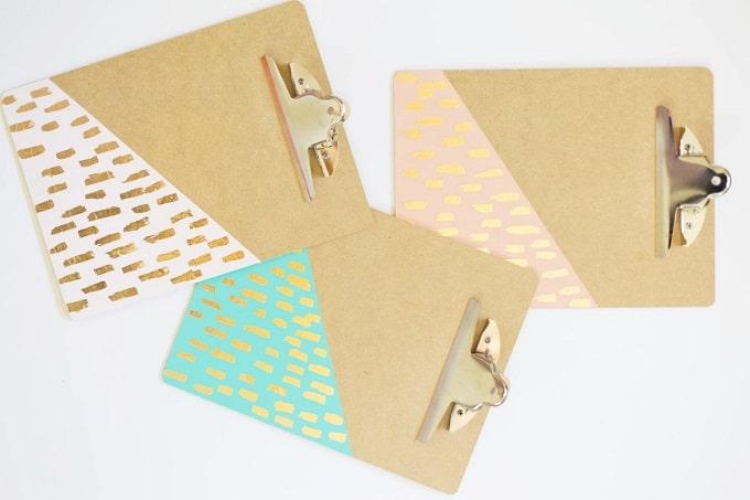gold leaf brushed clipboard