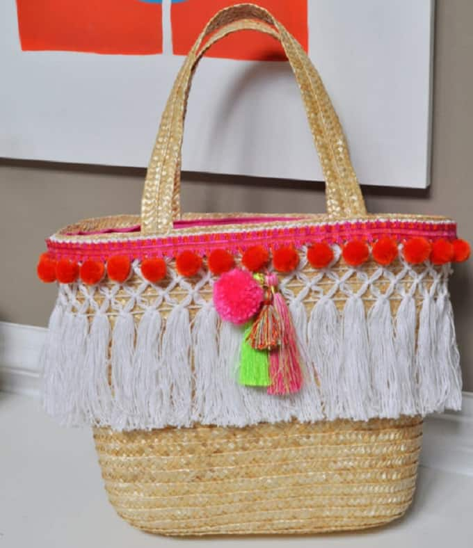 Tassels and Pom Poms Tote Basket
