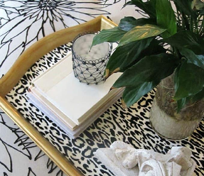 DIY leopard print serving tray